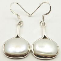 "Solid Sterling Silver White Pearl 12.2 tcw Dangle Earrings 1.5"" Made In India"