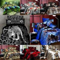 3/4 3D Animal Pattern Duvet Cover Set Bedding Pillowcases Bedsheet Single/Double