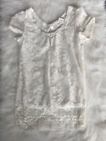 Studio Y Womens Top Lace Keyhole Open Back Size Large Ivory Cream Off White