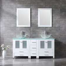 "60"" Bathroom Tempered Double Glass Vanity Cabinet Solid Wood w/Mirror Faucet New"