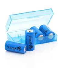 4x UltraFire 16340 cr123a BATTERIA 1000 mAh 3,6 V agli ioni di litio rcr123a + batteriebox