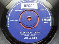 MICK JAGGER-MEMO FROM TURNER 1970 7'' DECCA COMPANY SLEEVE EX