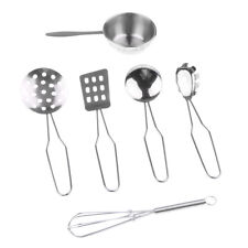 Kids Stainless Steel Kitchen Cooking Utensils Toy Pretend Play Toy - C, 6pcs