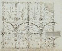 Entwurf einer Wanddekoration mit Grotesken, 18.Jhd., Lavierte Federzchng