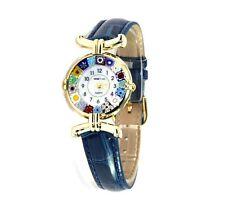 Orologio Donna Dorato Pelle blu watch in Vetro di Murano Murrina Millefiori