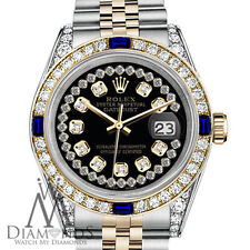 Rolex 26mm Datejust Glossy Black String Dial with Sapphire & Diamond Watch