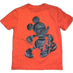 Disney Mickey Mouse Silhouette T-Shirt Boys Girls Small 5/6 Orange Trick Treat