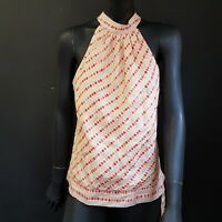 John Rocha Womens Top Blouse UK 14 Sleeveless Orange Coral Spotted Lined