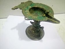 Old Vintage Antique Indian Brass Oil Lamp Bird Statue Home Decor