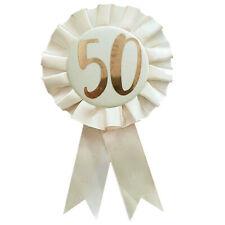 Cream / Rose Gold Birthday Rosette Number Badge - 50th Birthday