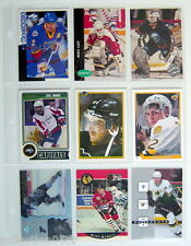 1990-2014'S LOT OF 9 HOCKEY CARDS + 1 PLASTIC SHEET FOR COLLECTORS ALBUM,