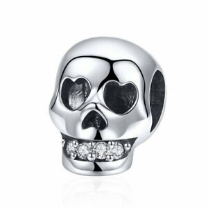 Vintage High Polish AAA CZ Skull Bead Charms Fit Bracelet 925 Sterling Silver