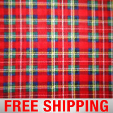 "Red Plaid Fleece Fabric - 60"" Wide - Style# PT118 - Free Shipping"