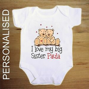 personalised i love my big sister  twin bear   BABY VEST BOY/GIRL BODYSUIT