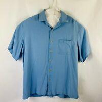 Nat Nast American Fit Button Front Shirt Silk Men's Size Large Blue