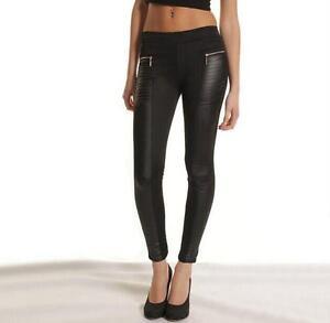 Women Ladies Black Leather Look Panel Leggings Jeggings Zip Stretch Trousers