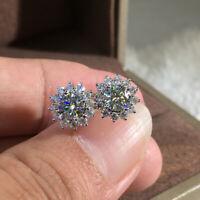 2.00CT Round Cut D/VVS1 Diamond Flower Stud Earrings 14k White Gold Finish
