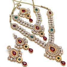 Red Green Bollywood CZ AD Bridal Necklace Earrings Jewelry Set Mang Tikka 6085