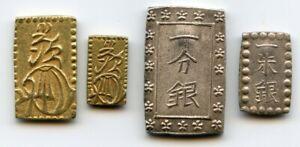 Japan 1832-1868 Old Pre-Meiji coin set: Nibu / Nishu gold, Ichibu / Isshu silver