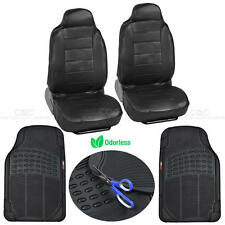 Front High Back PU Leather Seat Covers + Waterproof Rubber Floor Mats - 4pc