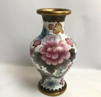 Vintage Cloisonné Vase Colourful Floral Design Metal