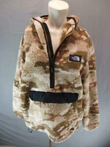 The North Face Size XL Mens Brown Outdoor Hooded 1/2 Zip Fleece Pullover T979