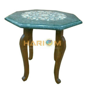 """12"""" Marble Coffee Table Top Mother of Pearl Inlay With 15"""" Woodstand Decor B177A"""