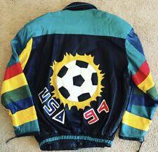 407a1e2dbe9 Vtg 90 s Men Black Leather 1994 USA Team SOCCER Futbol Jacket STREETWEAR  Coat