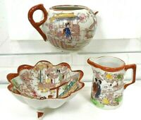 Vintage Hand Painted Japanese Pitchers & Dish - Made in Japan