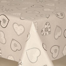 Love Grey Hearts Pvc Vinyl Table Cloth Protector Embossed Prints Sparkle Silver