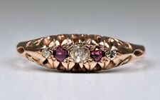 Vintage 9ct Rose Gold Diamond & Ruby Ring, (Birmingham,1998)