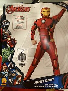 Marvel Avengers Iron Man Muscle Chest Costume W/ Jumpsuit Mask Shoe Covers
