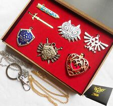 6pcs Legend of Zelda Link Shield Links Sword Necklace Pendant keychain gift box