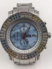 Men's Freeze Diamond Chronograph Watch 3.5CT Blue MOP