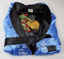 Thailand Reversable Chinese Dragon Kimono Large by Roses Blue Black Long
