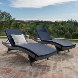 Outdoor Chaise Lounge 27.56. Reclining Attached Tie Removeable Slipcover Iron