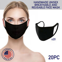 Face Mask Black Reusable 20 Pack Cover Cotton Double Layer Washable Protection
