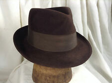 Vintage Dobbs Fedora Hat Wide Grosgrain Ribbon Cavanagh Edge Brown  Sz 7 1/8