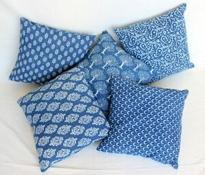 "5 pcs lot Indigo Blue Dyed Hand Block Printed Cotton Blue Cushion Cover 22"""