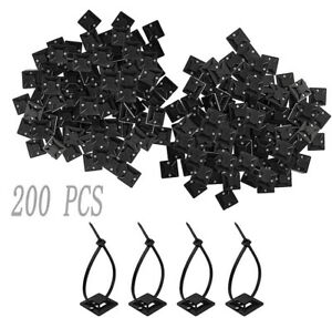 200PCS Cable Ties with Adhesive Base Mounts Self Adhesive Cable Tie Base Holders