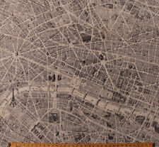 Cotton Map of Paris Eiffel Tower Travel France Cotton Fabric Print BTY D370.11