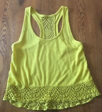 Roxy Mustard Yellow Crochet Trim Tank Top Shirt Junior's S Small