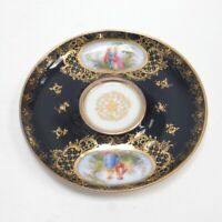Dresden Vienna Porcelain Saucer w/ Romantic Scene Royal Blue Gold Edge Vintage