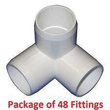 "1"" Furniture Grade 3-Way Corner Elbow PVC Fitting - 48 Pack"