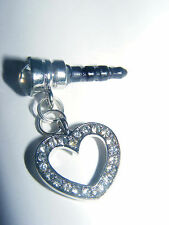 Crystal Heart phone charm anti-dust Plug 3.5mm iphone 4 4s Smart Phon 5G Nook