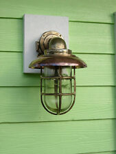 Large Nautical 90 Degree Passageway Dock Light w/Copper Hood- nautical light