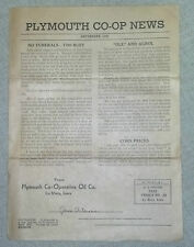 1938 Plymouth CO-OP News Sept. Issue No Funerals-Too Busy NICE CONDITION