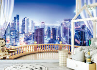 3D Self-adhesive Wall Mural Photo Wallpaper Window City Night View Bedroom Decor