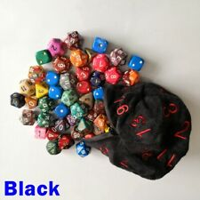 Large Black D20 Zip Zipped Die Dice Bag Pouch Pathfinder 5e Dungeons Dragons RPG