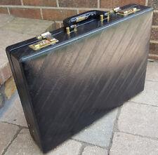 Vtg Briefcase-Faux Eel Leather-Black-Hard Case-Pockets-Combo Lock-Buisiness